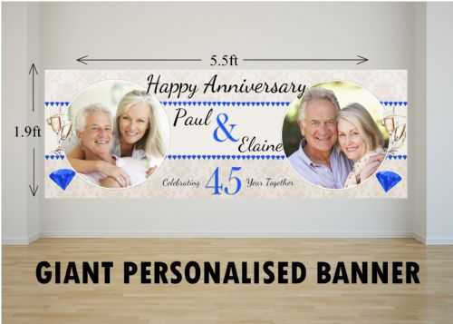 Personalised GIANT Large 45th Sapphire Wedding Anniversary PHOTO Poster Banner N44